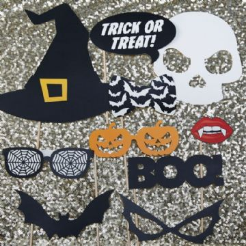 Halloween Trick or Treat Party Photo Booth Props - pack of 10